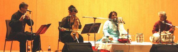 (From Left) Pawel Bentley, Maria Pomianowska, Ustad Kamal Sabri, and Ustad Fazal Qureshi