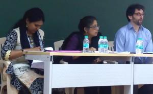 Session I (left to right): Saroja Ganapathy, Lakshmi Subramanian, and Justin Scarimbolo