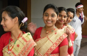 Students at the Bihu dance performace