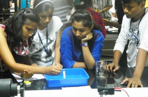 Participants in the physics lab