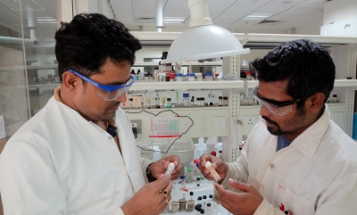 PhD student Barun Dhara (right) and Dr. Nirmalya Ballav at work