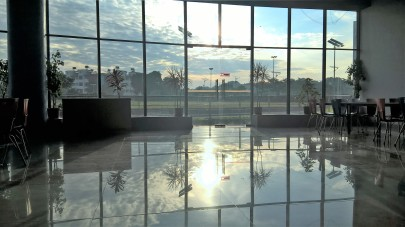 A reflection of sun rise in IISER dining hall
