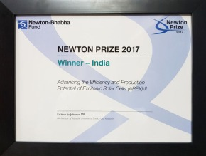 Newton Prize to DST-APEX-II project on solar energy
